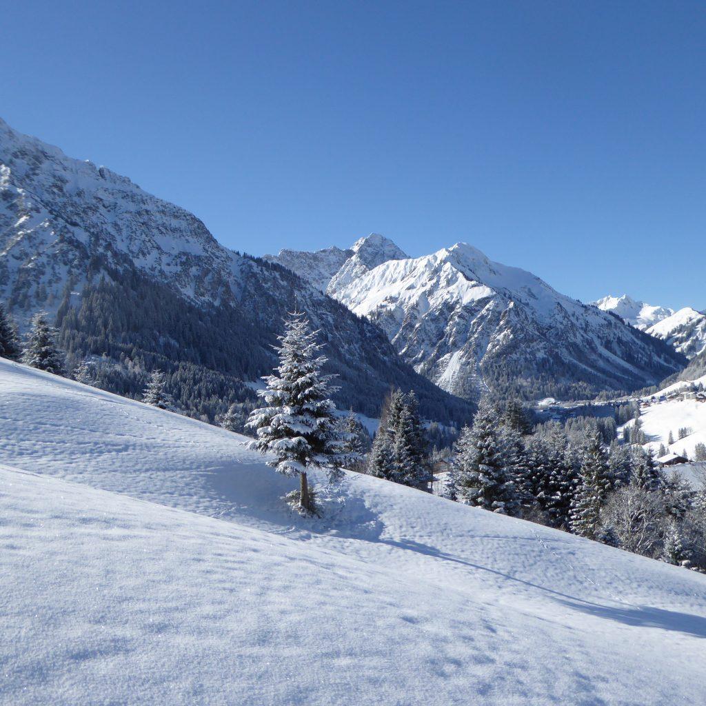 Berglandschaft im Allgäu im Schnee
