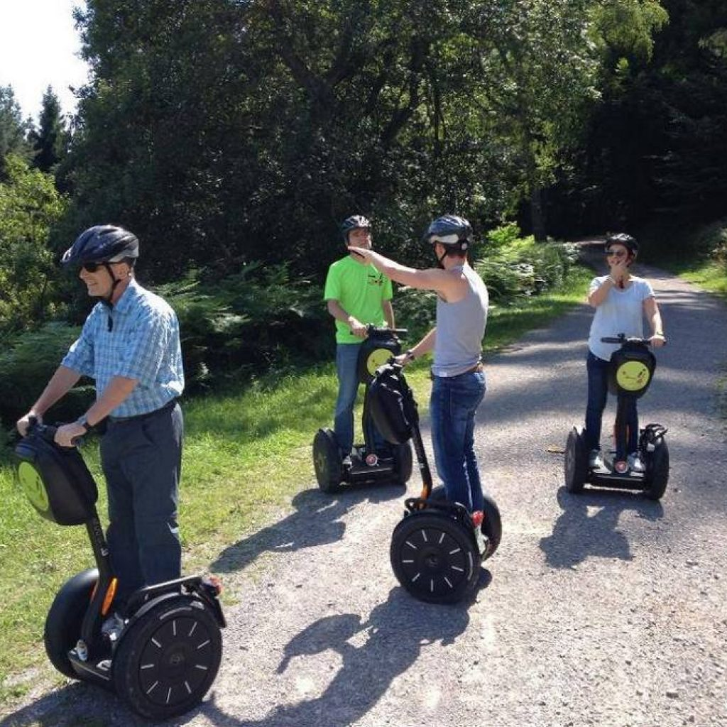 Drei Segwayfahrer mit Guide auf einem Waldweg