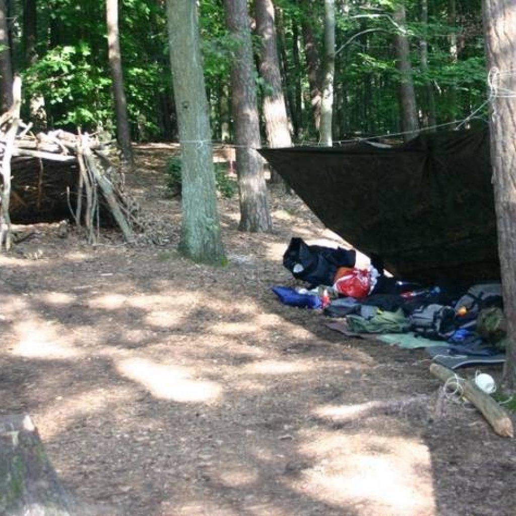 Unterkünfte im Wald bei einem Survival