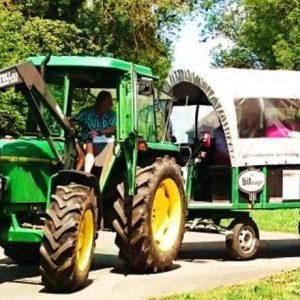 Traktor mit Planwagen fährt um eine Kurve