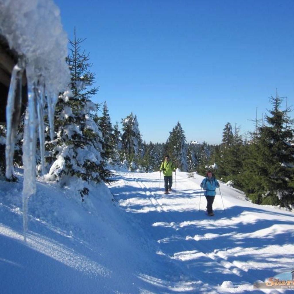 Mann und Frau beim Schneeschuhwandern