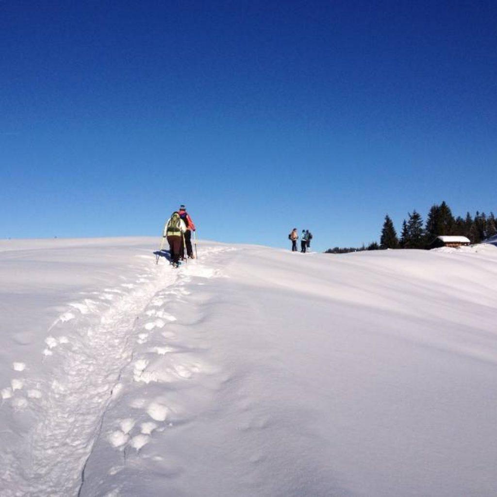 Schneeschuhwanderer laufen in Richtung einer Hütte