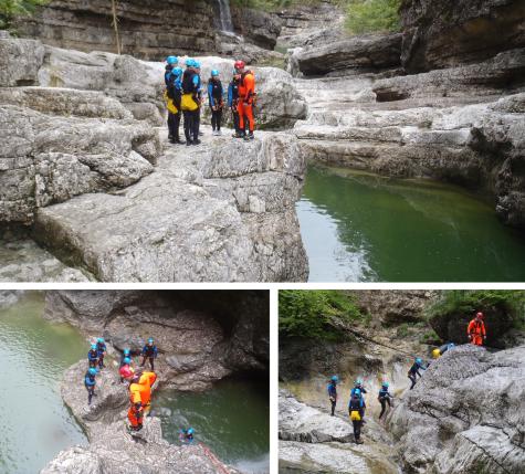 Bildcollage mit drei Bildern vom Canyoning im Salzburger Land