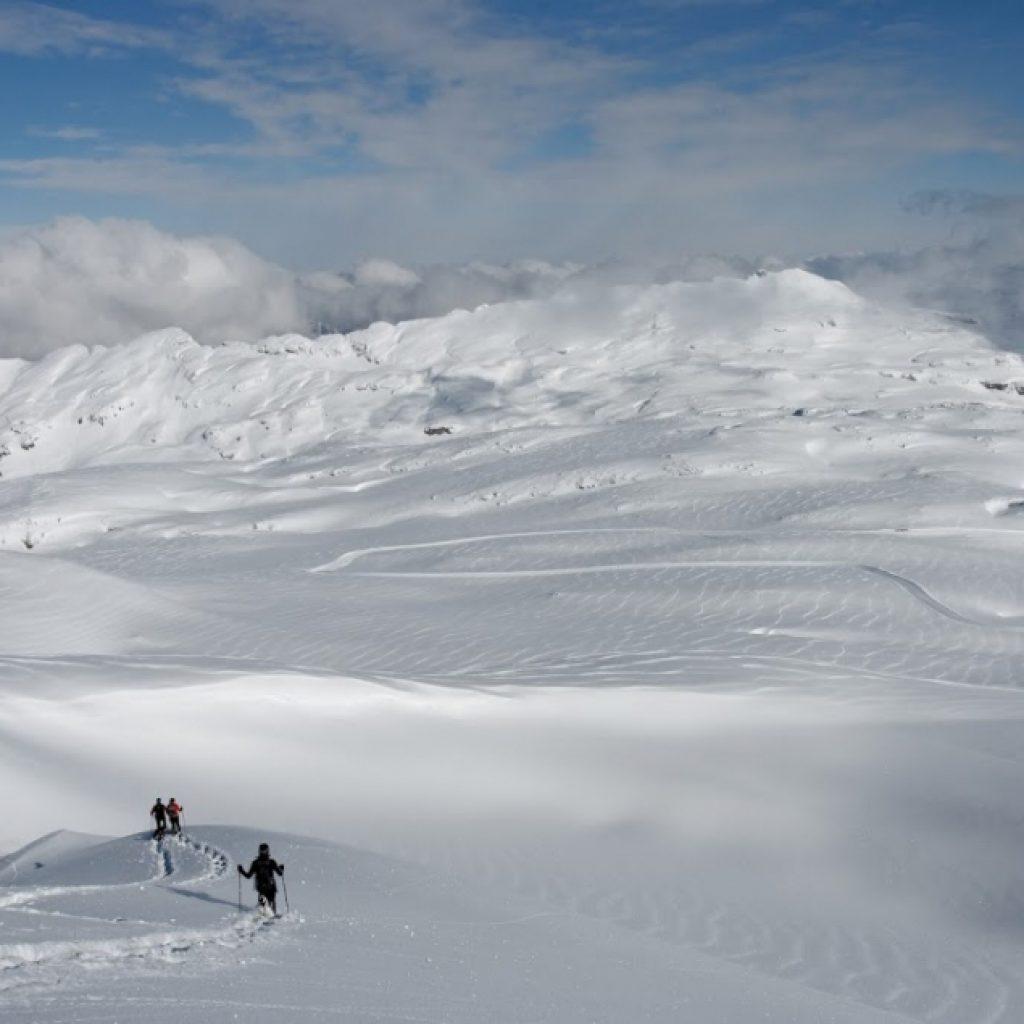 Schneeschuhwanderer in Winterlandschaft